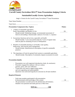 Carroll County Envirothon 2014 5 Issue Presentation Judging Criteria Sustainable/Locally Grown Agriculture