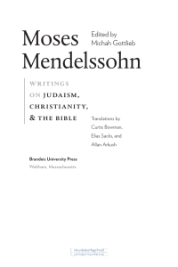 Moses Mendelssohn writings on