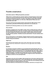 Possible complications Information sheet on TEM post-operative procedure