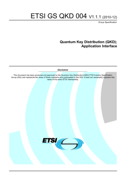 ETSI GS QKD 004  V1.1.1 Quantum Key Distribution (QKD);
