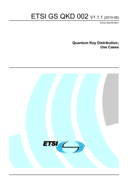 ETSI GS QKD 002  V1.1.1 Quantum Key Distribution;