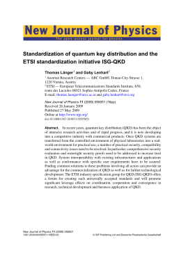 New Journal of Physics Standardization of quantum key distribution and the