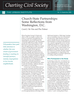 Church-State Partnerships: Some Reflections from Washington, D.C.