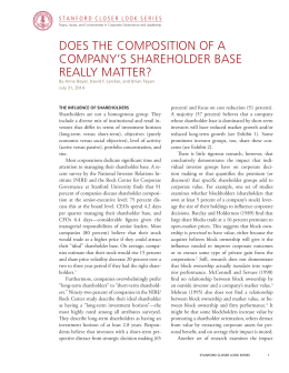 DOES THE COMPOSITION OF A COMPANY'S SHAREHOLDER BASE REALLY MATTER?
