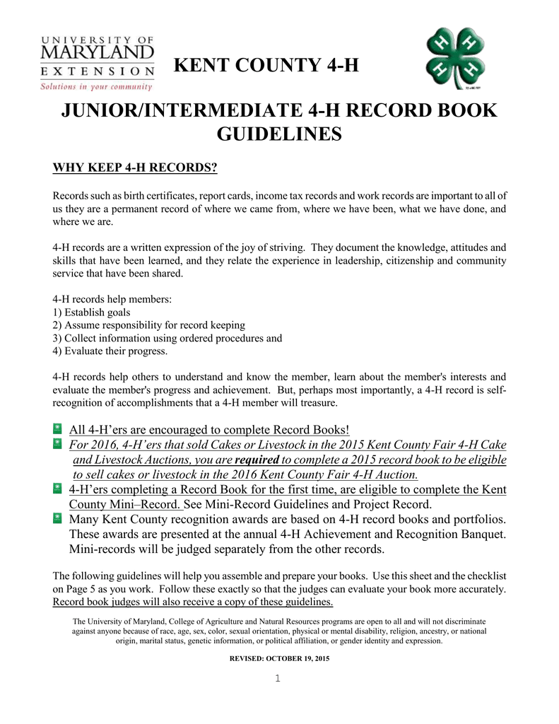 Kent county 4 h juniorintermediate 4 h record book guidelines xflitez Image collections