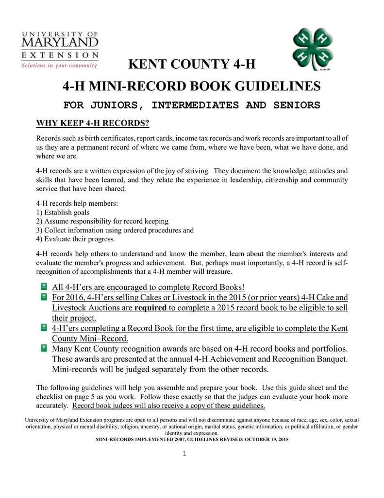 Kent county 4 h 4 h mini record book guidelines for juniors kent county 4 h 4 h mini record book guidelines for juniors intermediates and seniors xflitez Image collections