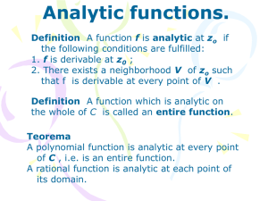 Analytic functions.