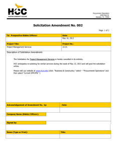 Solicitation Amendment No. 002  Description of Solicitation Amendment