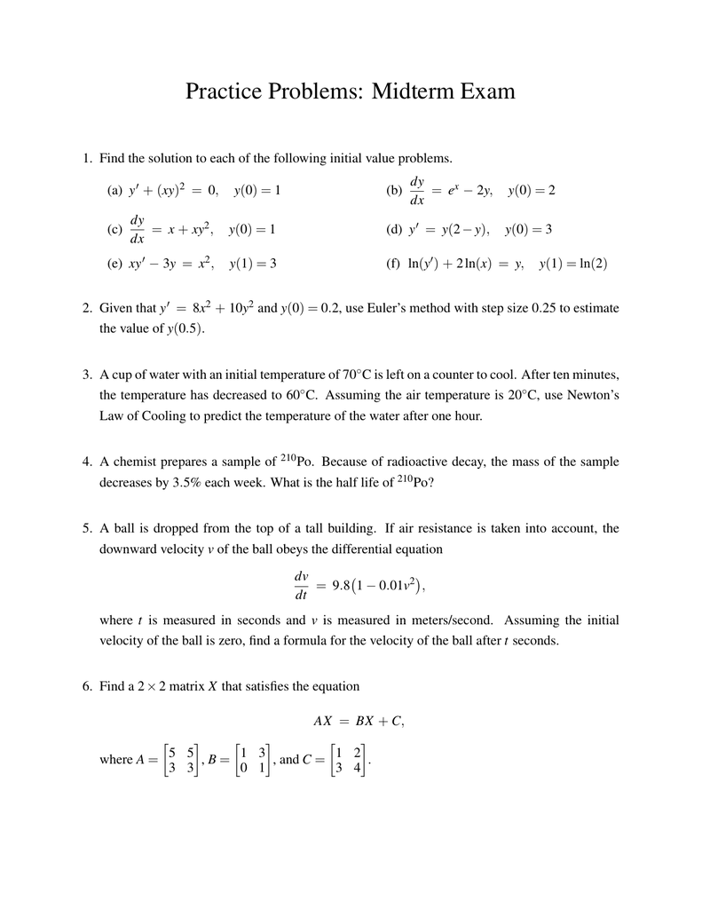Practice Problems Midterm Exam