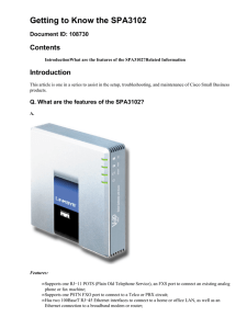 Getting to Know the SPA3102 Contents Introduction Document ID: 108730