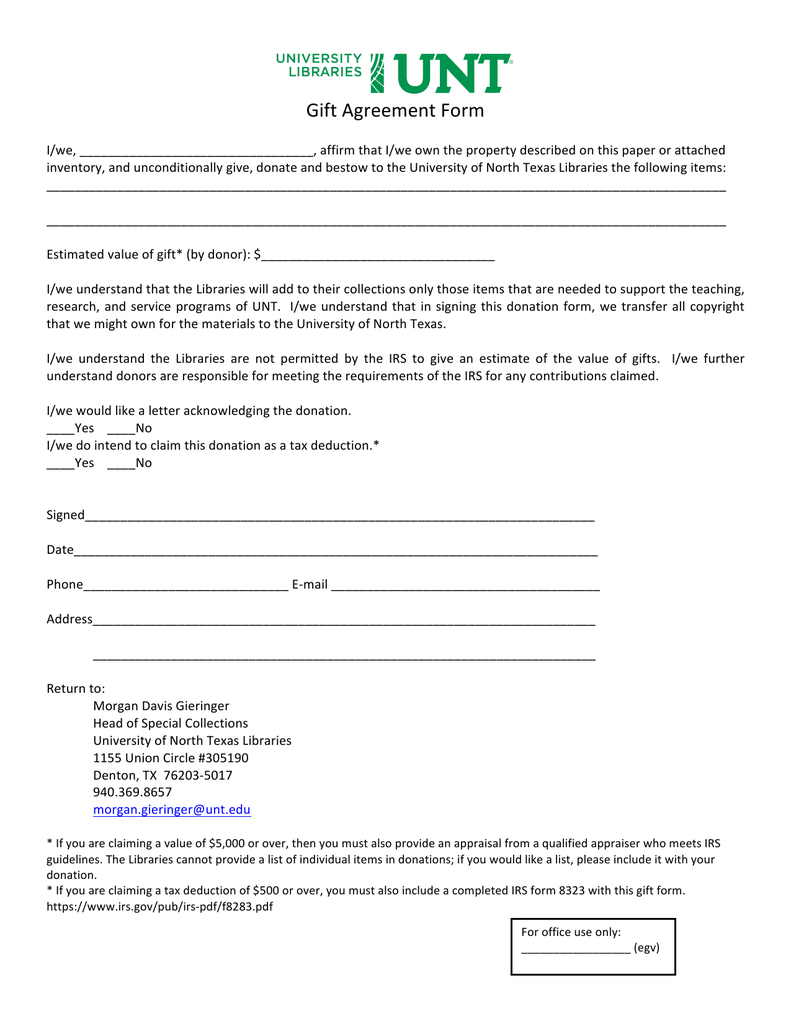 Gift Agreement Form