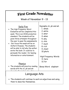 Week of November 9 - 13  Daily Five Digraphs-ch, ph and wh