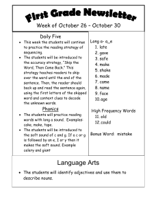 Week of October 26 – October 30 Daily Five  Long a- a_e