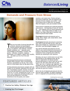 Demands and Pressure from Stress