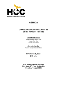 AGENDA CHANCELLOR EVALUATION COMMITTEE OF THE BOARD OF TRUSTEES