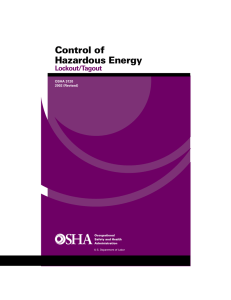 Control of Hazardous Energy Lockout/Tagout OSHA 3120