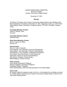 BOARD OPERATIONS COMMITTEE Board Of Trustees Houston Community College System November 27, 2001