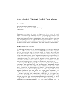 Astrophysical Effects of (Light) Dark Matter Y. Ascasibar