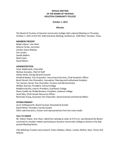SPECIAL MEETING OF THE BOARD OF TRUSTEES HOUSTON COMMUNITY COLLEGE October 1, 2015