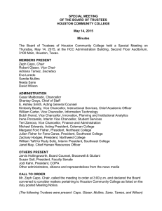 SPECIAL MEETING OF THE BOARD OF TRUSTEES HOUSTON COMMUNITY COLLEGE May 14, 2015