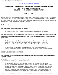 NOTICE OF A MEETING OF THE BOARD OPERATIONS COMMITTEE