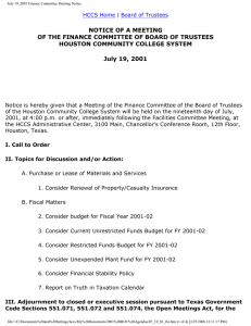 NOTICE OF A MEETING HOUSTON COMMUNITY COLLEGE SYSTEM