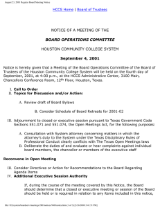 NOTICE OF A MEETING OF THE HOUSTON COMMUNITY COLLEGE SYSTEM