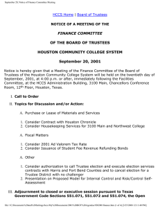 FINANCE COMMITTEE OF THE BOARD OF TRUSTEES HOUSTON COMMUNITY COLLEGE SYSTEM