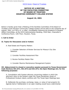 NOTICE OF A MEETING OF THE FACILITIES COMMITTEE OF BOARD OF TRUSTEES
