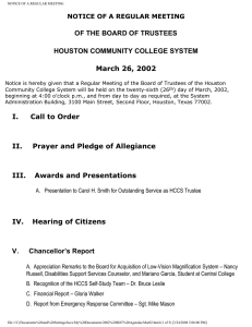 OF THE BOARD OF TRUSTEES HOUSTON COMMUNITY COLLEGE SYSTEM March 26, 2002