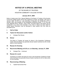 NOTICE OF A SPECIAL MEETING OF THE BOARD OF TRUSTEES