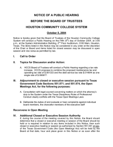 NOTICE OF A PUBLIC HEARING BEFORE THE BOARD OF TRUSTEES
