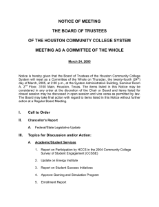 NOTICE OF MEETING THE BOARD OF TRUSTEES