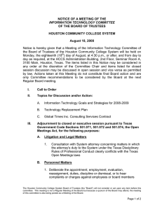 NOTICE OF A MEETING OF THE OF THE BOARD OF TRUSTEES
