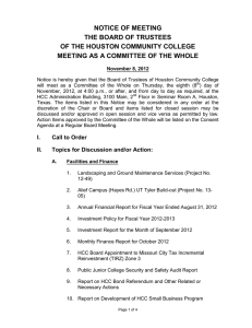 NOTICE OF MEETING THE BOARD OF TRUSTEES OF THE HOUSTON COMMUNITY COLLEGE