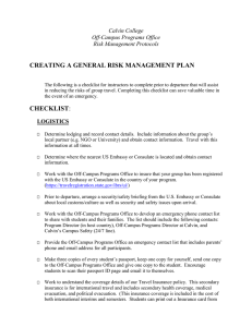 CREATING A GENERAL RISK MANAGEMENT PLAN Calvin College Off-Campus Programs Office