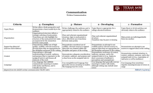Communication  Criteria 4 - Exemplary