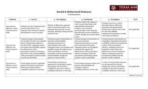 Social & Behavioral Sciences  Communication Criteria