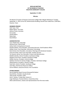 REGULAR MEETING OF THE BOARD OF TRUSTEES HOUSTON COMMUNITY COLLEGE September 17, 2015