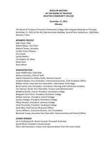 REGULAR MEETING OF THE BOARD OF TRUSTEES HOUSTON COMMUNITY COLLEGE December 17, 2015