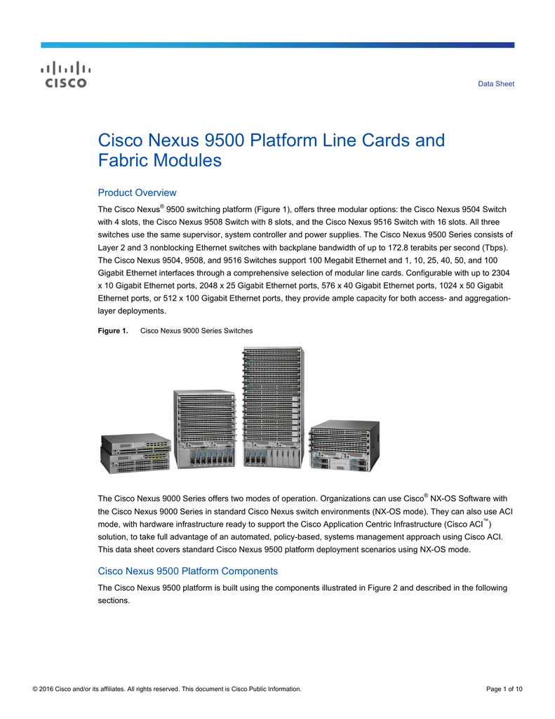 Cisco Nexus 9500 Platform Line Cards and Fabric Modules
