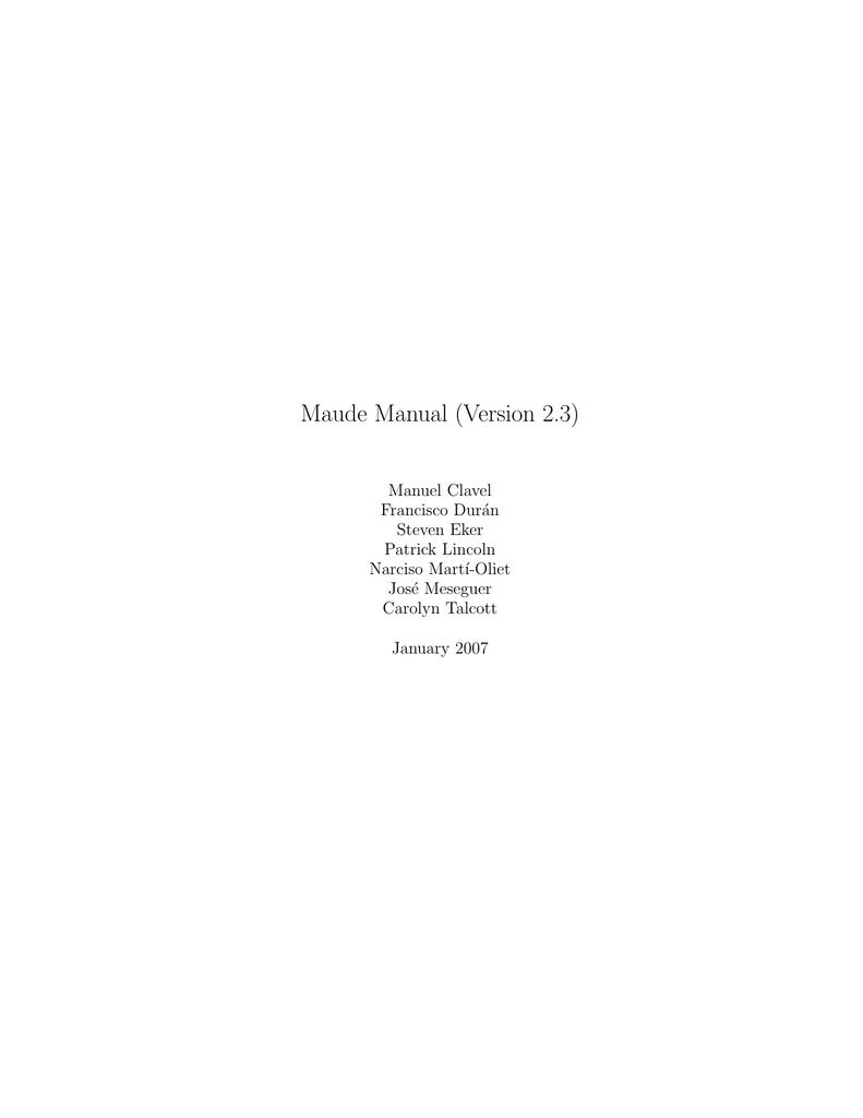 Maude Manual (Version 2 3)