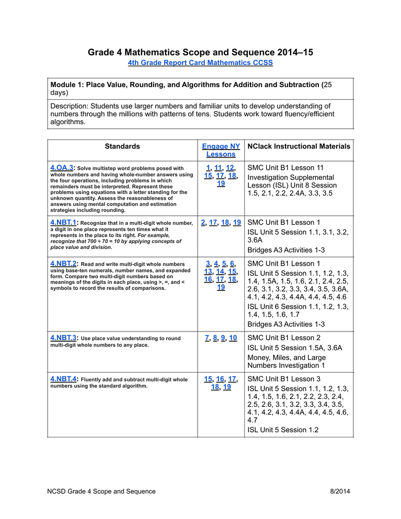 Grade 4 Mathematics Scope and Sequence 2014–15