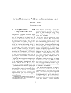 Solving Optimization Problems on Computational Grids 1 Multiprocessors and Computational Grids
