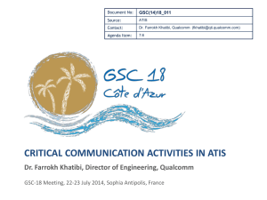 CRITICAL COMMUNICATION ACTIVITIES IN ATIS GSC(14)18_011