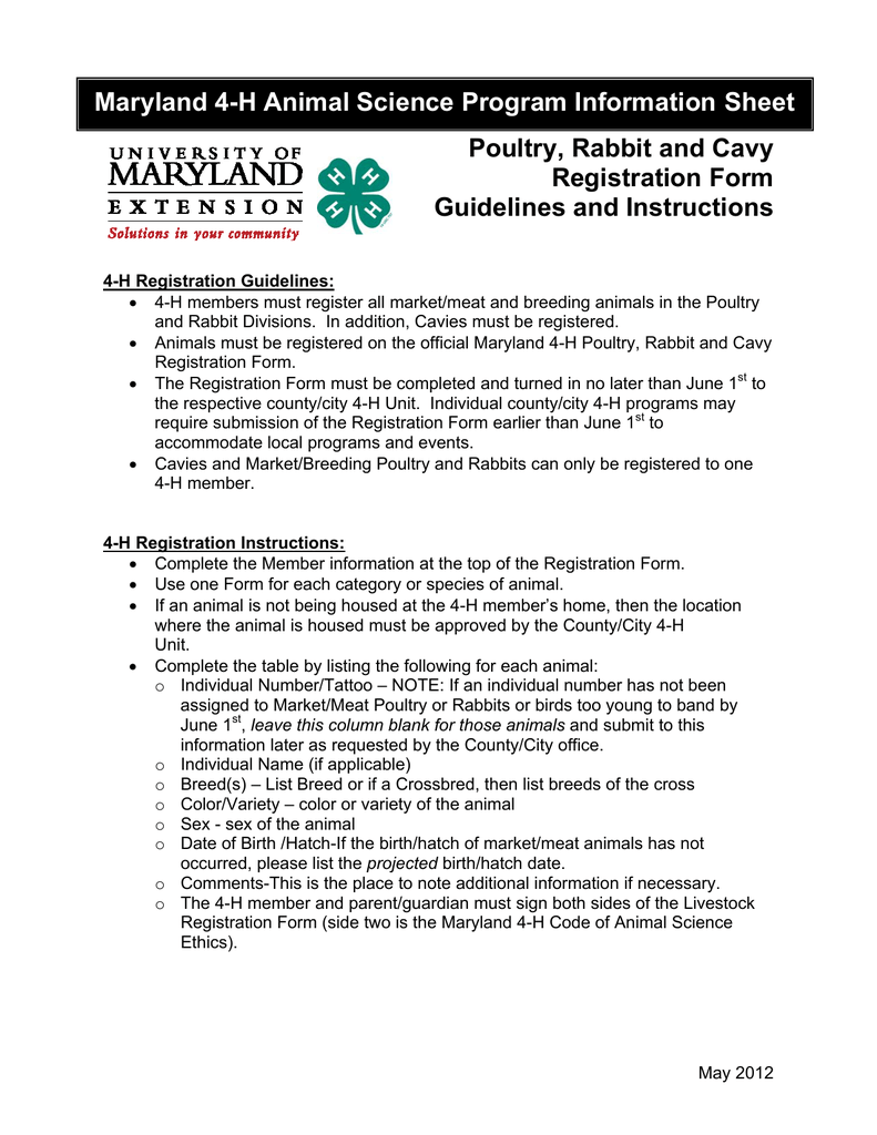 Maryland 4 h animal science program information sheet poultry maryland 4 h animal science program information sheet poultry rabbit and cavy aiddatafo Image collections