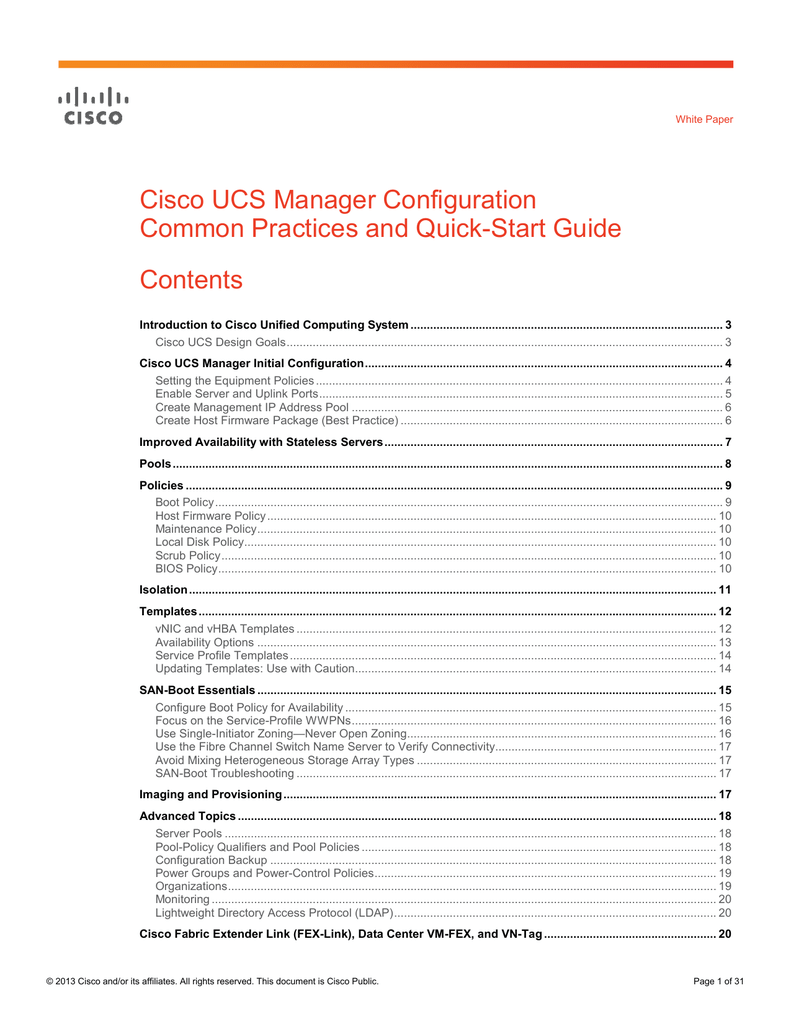 Cisco UCS Manager Configuration Common Practices and Quick
