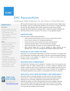EMC RecoverPoint  Continuous Data Protection for any Point-in-Time Recovery ESSENTIALS