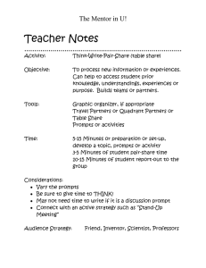 Teacher Notes The Mentor in U! ……………………………………………………………………