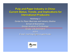 Pulp and Paper Industry in China: International Producers